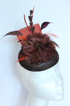 Dark brown base with Flower and burnt orange silk sinamay. Small hat perfect for a wedding guest or day at the races. Race Day, Burnt Orange, Dark Brown, Base, Silk, Button, Flowers, Wedding, Valentines Day Weddings