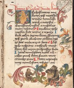 This Czech psalter XVII F 8 from the end of the 15th century is complemented by decorations made of animals in borders, captured during various human activities. The secular character suggests that the owner (more likely) was a noble lady or a wealthy patrician. 15th Century, Czech Republic, Collections, Decorations, Activities, Lady, Prints, Character, Animals