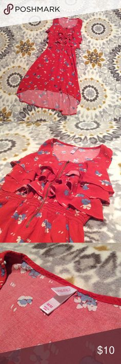 🆕 Xhilaration Hi-Low Sundress Xhilaration Hi-Low Sundress. Cute ruffle detail with gold zipper in front. Beautiful orange color. Like new condition. Smoke free home :) ask questions, make an offer, and bundle bundle bundle!! Xhilaration Dresses Mini