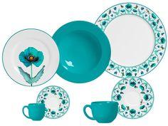 Aparelho de Jantar Poppy Blue Flat 42 Peças Porto Brasil - Aparelhos Jantar 42 pçs ou mais - Magazine Luiza