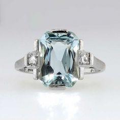 Fancy Cut Art Deco 3.5ct Aquamarine and Rose Cut Diamond Ring 18k   Antique and Estate Jewelry   JewelryFinds