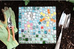 DIY Mosaic Stepping Stones | Whimseybox - good tutorial - would be fun to make a bunch of these for a hopscotch path