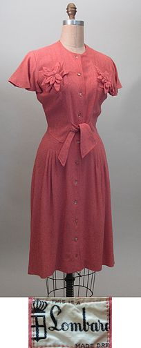 1940s Vintage Coral Wool Day Dress  SZ S