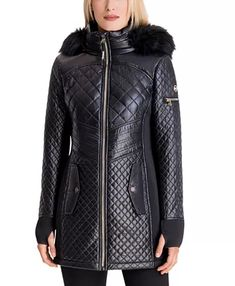 Michael Kors Faux-Fur-Trim Hooded Quilted Coat & Reviews - Coats - Women - Macy's Lace Jacket, Quilted Jacket, Blazer Jackets For Women, Coats For Women, Fall Wardrobe, Fur Trim, Michael Kors, Faux Fur, Winter Fashion