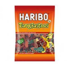 A bulk box of 12 bags of Haribo Tangfastic Lollies.