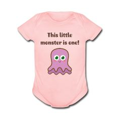 uh oh, this Little Monster is One! Cute purple Jelly like Monster for little girls' first birthday! By Rusty Doodle.