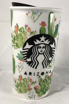 A double-walled ceramic travel mug featuring the cactus-covered Arizona landscape. Arizona, Coffee Love, Coffee Cups, Crackpot Café, Film Cars, Cute Cups, Cactus Decor, Cactus Y Suculentas, Cacti And Succulents