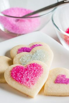 Soft sugar cookies in the shape of a heart, perfect for Valentine's, Mother's Day or as a simple treat to make with the kids during half term!