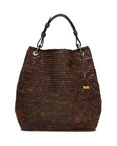 V362W Michael Kors Santorini Large Raffia Shoulder Bag, Luggage