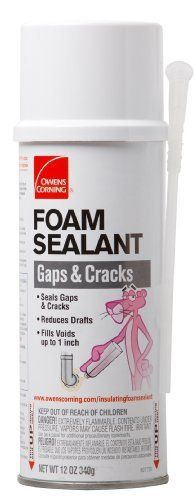 Owens-Corning 627720 Insulating Foam Sealant for Gaps and Cracks, General Purpose Polyurethane, 12-Ounces by Owens. $6.99. From the Manufacturer                Owens Corning Insulating Foam Sealant products are multi-purpose, one-component foam sealants. They expand to take the shape of gaps and cracks forming a permanent, weather-tight and water-resistant bond to most building materials. Seal gaps and cracks around the home to reduce air infiltration. The sealant will...