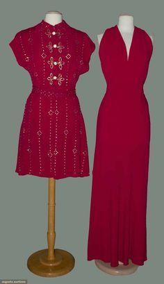 Circa 1940 magenta bias evening gown and jacket: Silk crepe, gown w/deep V front, halter double strap back;   jacket studded w/rhinestones, belted, with long peplum.