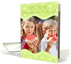 Happy Grandparents Day! Green Polka Dots Photo card. #grandparentsday #grandparents #holiday #holidaycards