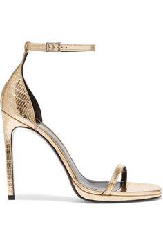 Saint Laurent | Jane metallic lizard-effect leather sandals | NET-A-PORTER.COM