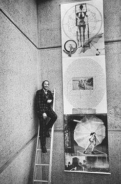 American abstract expressionist painter Robert Rauschenberg (1925–2008) at the Whitney Museum of American Art with his lithograph Autobiography, New York, ...