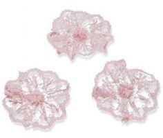 Kanten rozet oud roze ( 3 stuks ) | Rozetten kant | Nostalgie & Brocante