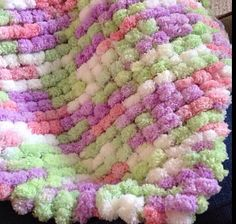 Mini Lovey Sized Pom Pom Blanket--Pink, Purple, Lime Green, and White Lovey Blanket, Photo Prop