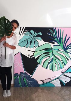 Handpainted Panel Monstera Leaves Inspiration| Panou Pictat Inspiratie Frunze…
