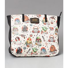 Loungefly Cream Leatherette Star Wars Tattoo Flash Print Tote ($62) ❤ liked on Polyvore featuring bags, handbags, tote bags, multicolor, zip tote, white tote, purse tote, man bag and tote purses