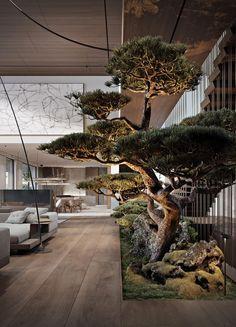 Dream House Interior, Interior Garden, Dream Home Design, Modern House Design, Home Interior Design, Interior Architecture, Biophilic Architecture, Green House Design, Interior Staircase