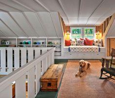 Attic Window Nook attic conversion built in bed. Attic Apartment, Attic Rooms, Attic Playroom, Attic Spaces, Playroom Ideas, Apartment Living, Small Spaces, Attic Renovation, Attic Remodel