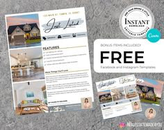 Real Estate Just Listed Flyer V2 Template, Just Listed Ver 1, Real Estate Marketing, With Facebook and IG Template, Editable in Canva #Realtors #RealEstate #RealEstateFlyer #EditableInCanva #ReMarketing #MarketingTemplate #JustListedTemplate #JustListed #FbTemplate #IgTemplate Real Estate Flyers, Real Estate Marketing, Direct Mail, Paper Size, Design Elements, Social Media, Ads, Templates, Facebook