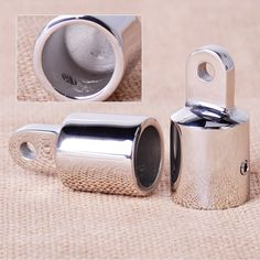 2PCS Stainless Steel 7/8'' Pipe Eye End Cap Bimini Top Fitting Hardware for Marine Boat Yacht
