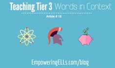 Empowering ELLs|Tier 3 Words: Teaching Content Specific Vocabulary|Article continues explaining why it is crucial to teach ELs to decode vocabulary words in context, as well as sharing a process for helping ELs to learn Tier 3 words, which are best presented with heavy emphasis on context, as they are very content/context specific.