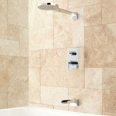 Brady Tub and Shower Set with Rainfall Shower Head - Chrome