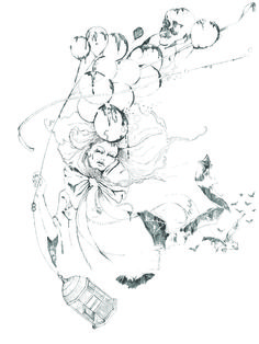 ballon witch  pencil on paper  copyrigth frkbukh
