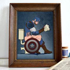 Superhero Captain America On the Toilet Bathroom Restroom Wall Art Hanging Print Home Décor literal toilet humour. Superhero Spiderman, Superhero Wall Art, Pictures For Bathroom Walls, Captain America Poster, Superhero Bathroom, Poster Wall, Poster Prints, Toilet Art, Bathroom Posters