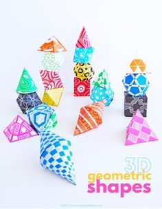 Learn how to make geometric shapes out of paper. A great math art project teaching kids about geometry. 3d Geometric Shapes, 3d Shapes, Shapes For Kids, Math For Kids, Fun Math, Maths, Math Art, Shape Art, Preschool Activities