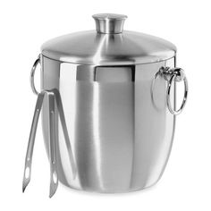 product image for Oggi™ Stainless Steel Double Wall Ice Bucket with Tongs