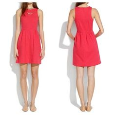 d50f419a258 Madewell Keynote Dress Sleeveless Defined Waist Stretch Pockets Red Size XS  72  Madewell
