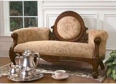 Sofa, with silver tea set. Love!