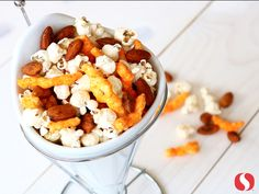 Screaming Sports Mix - This recipe was created for an NFL player who was crazy about Flamin' Hot Cheetos. This higher-nutrient and more satisfying version blends Oven Baked Cheetos and popcorn with Sriracha Almonds. To save time, you could substitute Wasabi Almonds, available in cans, for the Sriracha almonds!