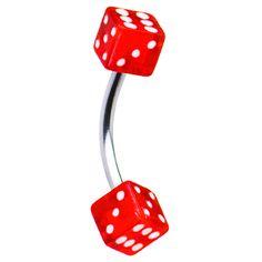 16 Gauge Red Dice Eyebrow Ring  3/8 #eyebrow #piercing #alternative #beauty $2.99 #luvk #casino #dice