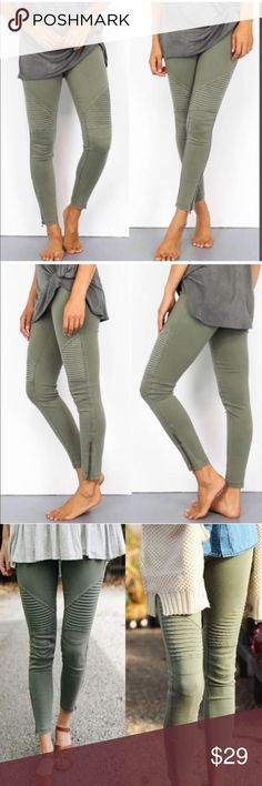 NEW! Trendy Moto Biker Pants in Olive Stretchy biker pants. No back pockets.  60% Cotton, 35% Nylon, 5% Spandex.  S/M 2-8.  I'm a curvy size 6 and the S/M fits comfortably. A size 8 would fit tightly.  Price is firm. Thanks. Aluna Levi Pants