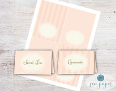 Buffet Cards - Food Labels - Meal Cards - DIY Printable Instant Download: Rustic, Shabby Chic Pink and Gold with a Cream Lace Doily