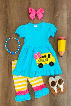 Girls Summer Outfits, Little Girl Outfits, Cute Outfits For Kids, Toddler Girl Outfits, Outfit Summer, Kids Boutique, Boutique Clothing, Kid Clothing, Children Clothing