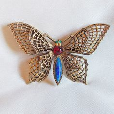 Fabulous ART Signed Vintage BUTTERFLY Jeweled Filigree Estate Pin Brooch #Art