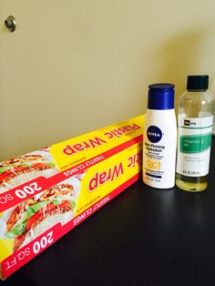DIY stomach wrap . Shed stomach fat easy !  . Plastic wrap  . Nivea skin firming lotion . Vitamin E oil  I prefer to wear it doing everyday cleaning around the house to working out and everynight before bed .