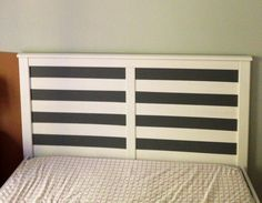 Ikea Aspelund Hack. Measure out three inch stripes to headboard to add some interest. First sanded the area to be painted. I then used Frog Tape to tape everything off. I used left over interior latex paint in dark grey and then sprayed the whole thing with Matte Krylon clear coat.