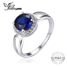 JewelryPalace Round Cut 2.2ct Created Blue Sapphire Engagement Halo Ring Solid 925 Sterling Silver Jewelry For Women Wholesale
