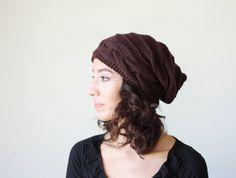 Brown womens hat women slouchy beanie Brown winter hat