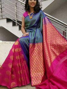 Kanjivaram Sarees Silk, Indian Silk Sarees, Pure Silk Sarees, Wedding Silk Saree, Elegant Saree, Saree Dress, Plus Size Jeans, Saree Blouse Designs, Indian Fashion