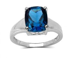 chicmarket.com - 3.50 Carat Genuine London Blue Topaz Sterling Silver Ring - 6