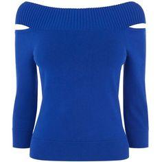 Karen Millen Shoulder-Detail Jumper (€97) ❤ liked on Polyvore featuring tops, sweaters, blue, women, karen millen tops, cut-out tops, slim fit sweaters, wide neck tops and slimming tops