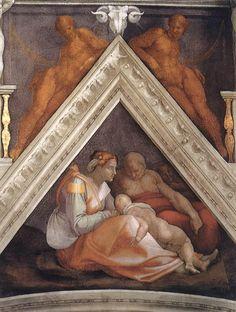 MICHELANGELO BUONARROTI - (1475 - 1564) - Sistine Chapel - Ancestors of Christ (detail).