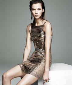 """Kasia Struss in """"Future Perfect"""" for WSJ Magazine November 2012 by Claudia Knoepfel & Stefan Indlekofer. Wsj Magazine, Magazine Editorial, Fashion Photography Inspiration, Style Inspiration, Metallic Dress, Vogue Paris, Editorial Fashion, High Fashion, Fashion Fashion"""