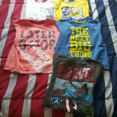 *BUNDLE* Random T-SHIRTS!! Bundle of mixed t-shirts!!  *White P.S. kids tee *Yellow Adidas long sleeve tee *Orange Cherokee tee  *Blue Old Navy tee *Black Old Navy Collectibles Marvel tee  All size 4T!! In great condition!!! Mixed Tops Tees - Short Sleeve